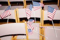 American flags lay on chairs after Texas senator and Republican presidential candidate Ted Cruz spoke at a town hall put on by the Concerned Veterans for American at Milford Town Hall in Milford, New Hampshire.