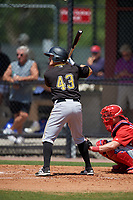 Pittsburgh Pirates second baseman Logan Ratledge (43) at bat during a minor league Spring Training game against the Philadelphia Phillies on March 24, 2017 at Carpenter Complex in Clearwater, Florida.  (Mike Janes/Four Seam Images)