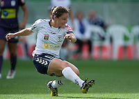 MELBOURNE, AUSTRALIA - DECEMBER 18: Kendall FLETCHER of the Victory kicks the ball during the round 7 W-League match between the Melbourne Victory and the Perth Glory at AAMI Park on December 18, 2010 in Melbourne, Australia. (Photo Sydney Low / asteriskimages.com)