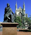 New Zealand, South Island, Dunedin: Robert Burns Statue and St Pauls Cathedral   Neuseeland, Suedinsel, Christchurch: Robert Burns Statue und St Pauls Kathedrale