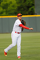 Greeneville Reds infielder Raul Juarez (39) before a game against the Bristol Pirates at Pioneer Field on June 20, 2018 in Greeneville, Tennessee. Bristol defeated Greeneville 11-0. (Robert Gurganus/Four Seam Images)