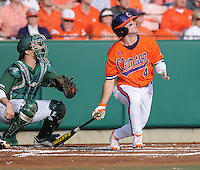 Outfielder Thomas Brittle (4) of the Clemson Tigers in a game against the University of Alabama-Birmingham on Feb. 17, 2012, at Doug Kingsmore Stadium in Clemson, South Carolina. UAB won 2-1. (Tom Priddy/Four Seam Images)
