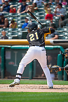 Alfredo Marte (21) of the Salt Lake Bees at bat against the Omaha Storm Chasers in Pacific Coast League action at Smith's Ballpark on August 16, 2015 in Salt Lake City, Utah. Omaha defeated Salt Lake 11-4. (Stephen Smith/Four Seam Images)