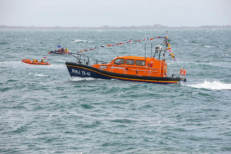 Lifeboats from Kilmore Quay and Fethard RNLI formed a guard of honour for the new arrival into Dunmore East