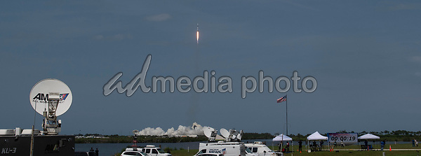In this photo released by the National Aeronautics and Space Administration (NASA),, A SpaceX Falcon 9 rocket carrying the company's Crew Dragon spacecraft is launched from Launch Complex 39A on NASA's SpaceX Demo-2 mission to the International Space Station with NASA astronauts Robert Behnken and Douglas Hurley onboard, Saturday, May 30, 2020, at NASA's Kennedy Space Center in Florida. The Demo-2 mission is the first launch with astronauts of the SpaceX Crew Dragon spacecraft and Falcon 9 rocket to the International Space Station as part of the agency's Commercial Crew Program. The test flight serves as an end-to-end demonstration of SpaceX's crew transportation system. Behnken and Hurley launched at 3:22 p.m. EDT on Saturday, May 30, from Launch Complex 39A at the Kennedy Space Center. A new era of human spaceflight is set to begin as American astronauts once again launch on an American rocket from American soil to low-Earth orbit for the first time since the conclusion of the Space Shuttle Program in 2011. <br /> Mandatory Credit: Joel Kowsky / NASA via CNP/AdMedia