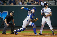 Burlington Royals catcher William Hancock (7) makes a throw to second base as Ryder Green (21) of the Pulaski Yankees and home plate umpire Lane Culipher look on at Calfee Park on September 1, 2019 in Pulaski, Virginia. The Royals defeated the Yankees 5-4 in 17 innings. (Brian Westerholt/Four Seam Images)