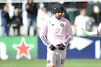 WASHINGTON, DC - MARCH 07: Rodolfo Pizarro #10 of Inter Miami CF during pre game warmups during a game between Inter Miami CF and D.C. United at Audi Field on March 07, 2020 in Washington, DC.