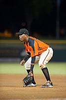AZL Giants first baseman Beicker Mendoza (12) on defense against the AZL Rangers on August 22 at Scottsdale Stadium in Scottsdale, Arizona. AZL Rangers defeated the AZL Giants 7-5. (Zachary Lucy/Four Seam Images via AP Images)