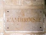 exterior, sign, L'Ambrosie Restaurant, Paris, France, Europe