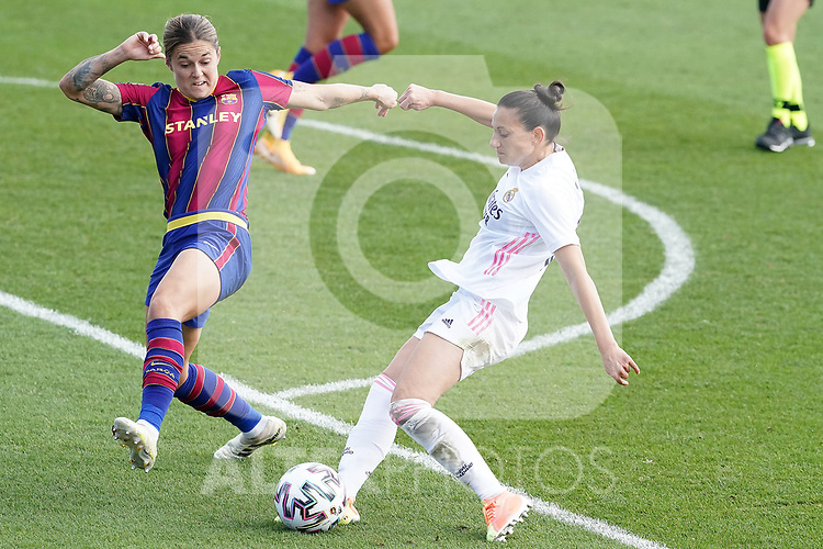 First official match and first classic in the history of women's Real Madrid.<br /> Real Madrid's Aurelie Kaci (r) and FC Barcelona's Mapi Leon during Spanish Female League match. October 4,2020. (ALTERPHOTOS/Acero)