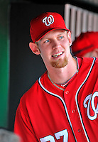 16 June 2012: Washington Nationals pitcher Stephen Strasburg watches play from the dugout during a game against the New York Yankees at Nationals Park in Washington, DC. The Yankees defeated the Nationals in 14 innings by a score of 5-3, taking the second game of their 3-game series. Mandatory Credit: Ed Wolfstein Photo