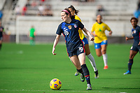 ORLANDO CITY, FL - FEBRUARY 21: Rose Lavelle #16 of the USWNT dribbles the ball during a game between Brazil and USWNT at Exploria Stadium on February 21, 2021 in Orlando City, Florida.