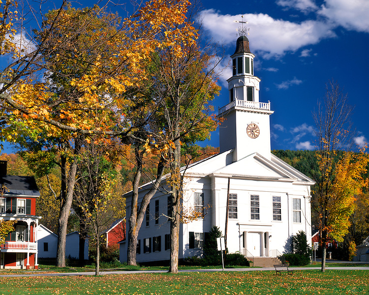 The United Church of Chelsea in the fall; Chelsea, VT