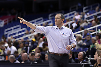 GREENSBORO, NC - MARCH 05: Head coach Lance White of University of Pittsburgh during a game between Pitt and Georgia Tech at Greensboro Coliseum on March 05, 2020 in Greensboro, North Carolina.