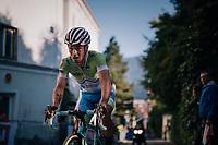 Primoz Roglic (SVK/LottoNL-Jumbo) showing the signs of an earlier crash<br /> <br /> MEN ELITE ROAD RACE<br /> Kufstein to Innsbruck: 258.5 km<br /> <br /> UCI 2018 Road World Championships<br /> Innsbruck - Tirol / Austria