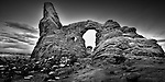 Black and white image of Turret Arch in Arches National Park, UT