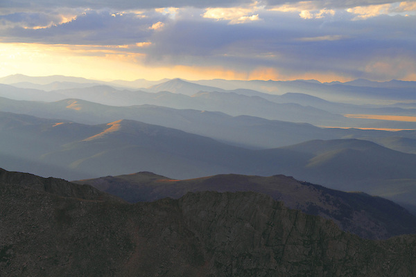 Front Range Mountains from Mount Evans (14250 feet), west of Denver, Colorado.