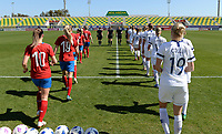 20190301 - LARNACA , CYPRUS : both teams pictured entering the pitch during a women's soccer game between Finland and Czech Republic , on Friday 1 March 2019 at the AEK Arena in Larnaca , Cyprus . This is the second game in group A for Both teams during the Cyprus Womens Cup 2019 , a prestigious women soccer tournament as a preparation on the Uefa Women's Euro 2021 qualification duels. PHOTO SPORTPIX.BE   DAVID CATRY