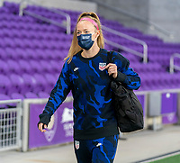 ORLANDO, FL - JANUARY 18: Becky Sauerbrunn #4 of the USWNT walks into the venue before a game between Colombia and USWNT at Exploria Stadium on January 18, 2021 in Orlando, Florida.