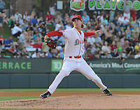 Pitcher Henry Owens (32) of the Greenville Drive in a game against the Charleston RiverDogs on June 2, 2012, at Fluor Field at the West End in Greenville, South Carolina. Greenville won, 10-4. (Tom Priddy/Four Seam Images)
