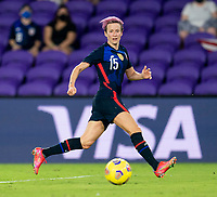 ORLANDO, FL - FEBRUARY 24: Megan Rapinoe #15 of the USWNT dribbles during a game between Argentina and USWNT at Exploria Stadium on February 24, 2021 in Orlando, Florida.