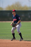 Cleveland Indians second baseman Jesse Berardi (11) during a Minor League Spring Training game against the Chicago White Sox at Camelback Ranch on March 16, 2018 in Glendale, Arizona. (Zachary Lucy/Four Seam Images)