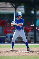 Toronto Blue Jays Davis Schneider (5) at bat during an Instructional League game against the Philadelphia Phillies on September 27, 2019 at Englebert Complex in Dunedin, Florida.  (Mike Janes/Four Seam Images)
