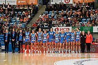 6th June 2021; Ken Rosewall Arena, Sydney, New South Wales, Australia; Australian Suncorp Super Netball, New South Wales, NSW Swifts versus Giants Netball; the Swifts line up before the start with the Carol Sykes trophy in view