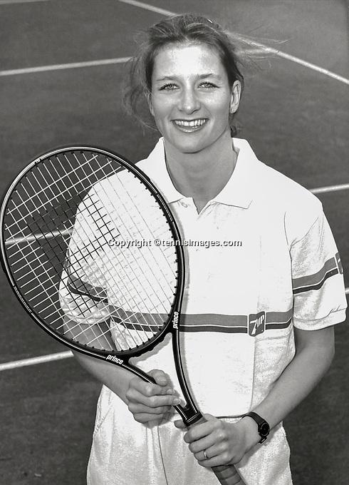 June 14, 1987, Netherlands, Dutch National Championships, Karin Moos (NED)<br /> Photo: Tennisimages/Henk Koster