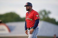 State College Spikes manager Jose Leon (19) during a NY-Penn League game against the Batavia Muckdogs on July 2, 2019 at Dwyer Stadium in Batavia, New York.  Batavia defeated State College 1-0.  (Mike Janes/Four Seam Images)