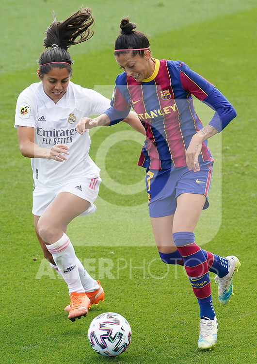 First official match and first classic in the history of women's Real Madrid.<br /> Real Madrid's Kenti Robles (l) and FC Barcelona's Jennifer Hermoso during Spanish Female League match. October 4,2020. (ALTERPHOTOS/Acero)