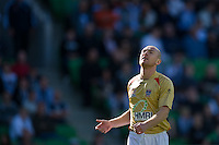 MELBOURNE, AUSTRALIA - DECEMBER 27: Jobe Wheelhouse of the Jets reacts after his shot on goal misses during the round 20 A-League match between the Melbourne Victory and the Newcastle Jets at AAMI Park on December 27, 2010 in Melbourne, Australia. (Photo by Sydney Low / Asterisk Images)