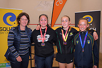 Dame Susuan Devoy with the girls' squash podium. 2019 AIMS games at Blake Park in Mount Maunganui, New Zealand on Thursday, 12 September 2019. Photo: Dave Lintott / lintottphoto.co.nz