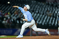 North Carolina Tar Heels starting pitcher J.B. Bukauskas (38) delivers a pitch to the plate against the North Carolina State Wolfpack in Game Twelve of the 2017 ACC Baseball Championship at Louisville Slugger Field on May 26, 2017 in Louisville, Kentucky.  The Tar Heels defeated the Wolfpack 12-4 to advance to the semi-finals.  (Brian Westerholt/Four Seam Images)