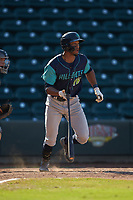 Will Benson (16) of the Lynchburg Hillcats starts down the first base line against the Winston-Salem Rayados at BB&T Ballpark on June 23, 2019 in Winston-Salem, North Carolina. The Hillcats defeated the Rayados 12-9 in 11 innings. (Brian Westerholt/Four Seam Images)