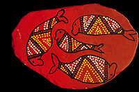illustration, Ausralian aboriginal artwork painted on rock, unknown artists, dugong or sea cow, Dugong dugon, Northern Territory, Austrialia, Arafura sea