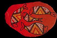 illustration, Ausralian aboriginal artwork painted on rock, unknown artists, dugong or sea cow, Dugong dugon, Northern Territory, Austrialia, Arafura sea