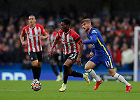 2nd October 2021; Stamford Bridge, Chelsea, London, England; Premier League football Chelsea versus Southampton; Nathan Tella of Southampton being marked by Timo Werner of Chelsea