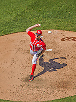 26 May 2013: Washington Nationals starting pitcher Stephen Strasburg on the mound against the Philadelphia Phillies at Nationals Park in Washington, DC. Strasburg pitched eight complete innings, striking out nine, and going 2 for 3 at the plate, recording his third win of the season, as the Nationals defeat the Phillies 6-1, taking the rubber game of their 3-game weekend series. Mandatory Credit: Ed Wolfstein Photo *** RAW (NEF) Image File Available ***