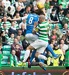 Celtic v St Johnstone …26.08.17… Celtic Park… SPFL<br />Murray Davidson clashes heads with Aaron Comrie and Scott Brown<br />Picture by Graeme Hart.<br />Copyright Perthshire Picture Agency<br />Tel: 01738 623350  Mobile: 07990 594431