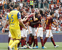 Calcio, Serie A: Roma vs ChievoVerona. Roma, stadio Olimpico, 8 maggio 2016.<br /> Roma's Antonio Ruediger, third from right, celebrates with teammates after scoring during the Italian Serie A football match between Roma and ChievoVerona at Rome's Olympic stadium, 8 May 2016.<br /> UPDATE IMAGES PRESS/Isabella Bonotto