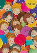 Interlitho, Soledad, CHRISTMAS CHILDREN, naive, paintings, kids heads(KL3226,#XK#) Weihnachten, Navidad, illustrations, pinturas