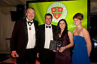 The Contribution to the Community Award was won by Eversheds. Mark Fletcher and Sarah Hinchcliffe collected the award, flanked by Club President Austin Moore and Rebecca Blaymires (right) of sponsors Wesleyan for Lawyers