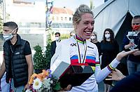 """""""I don't know how I did it, but I did it!"""" : a very excited Ellen van Dijk (NED/Trek-Segafredo) became TT World Champion for the 2nd time in her career (first in 2013) <br /> <br /> Women Elite Individual Time Trial from Knokke-Heist to Bruges (30.3 km)<br /> <br /> UCI Road World Championships - Flanders Belgium 2021<br /> <br /> ©kramon"""