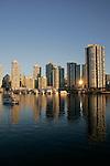 Vancouver, False Creek, Yaletown, English Bay, condominiums, morning sunrise, British Columbia, Canada,