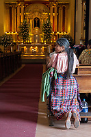 Antigua, Guatemala.  Woman Kneeling in Church of San Jose, formerly Santiago.