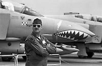 - pilot of an F4 Phantom II fighter aircraft of the Royal Air Force on Greenham Common English air base<br /> <br /> - pilota di un aereo da caccia F4 Phantom II della Royal  Air Force sulla base aerea inglese di Greenham Common
