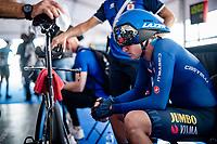 Edoardo Affini (ITA/Jumbo-Visma) focussing pre-race<br /> <br /> Men Elite Individual Time Trial <br /> from Knokke-Heist to Bruges (43.3 km)<br /> <br /> UCI Road World Championships - Flanders Belgium 2021<br /> <br /> ©kramon