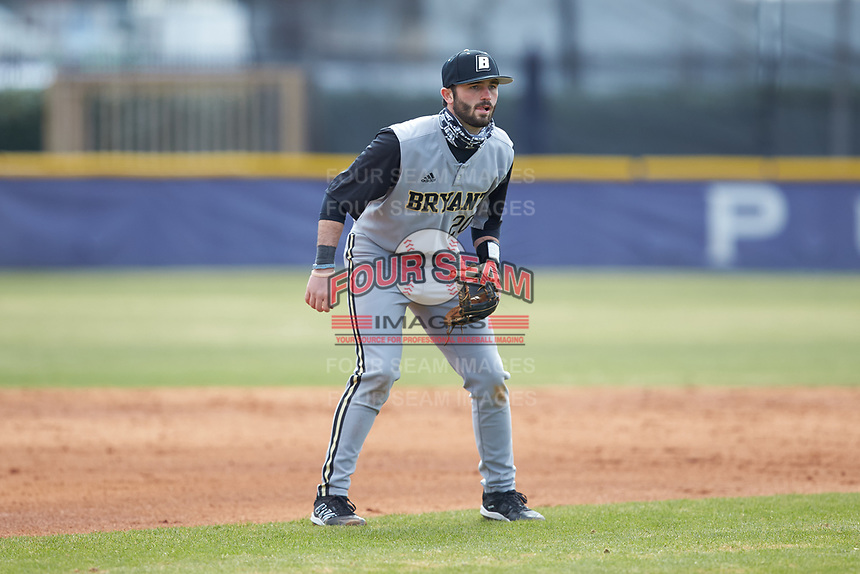 Bryant Bulldogs shortstop Tommy DiTullio (20) on defense against the High Point Panthers at Williard Stadium on February 21, 2021 in  Winston-Salem, North Carolina. The Panthers defeated the Bulldogs 3-2. (Brian Westerholt/Four Seam Images)