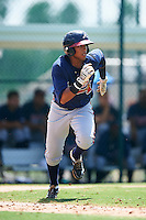 GCL Braves second baseman Luis Mejia (37) runs to first during a game against the GCL Pirates on August 10, 2016 at Pirate City in Bradenton, Florida.  GCL Braves defeated the GCL Pirates 5-1.  (Mike Janes/Four Seam Images)